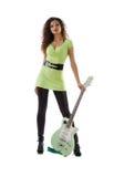 nätt kvinnor för elektrisk gitarr Fotografering för Bildbyråer