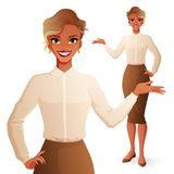 Nätt le för affärskvinna för svart afrikan framlägga Isolerad vektorillustration royaltyfri illustrationer