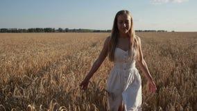 Nätt le kvinna som kopplar av i vetefält arkivfilmer