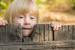 Nätt liten blond flicka som plirar över ett staket royaltyfria bilder