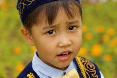 Nätt liten kazakhpojke Fotografering för Bildbyråer