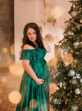 Nätt mörker-haired gravid kvinna i lång klänning för ursnygg förtjusande grön smaragd nära träd för nytt år, dam modestly royaltyfria bilder