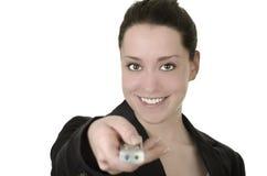 Nätt peka för affärskvinna Arkivfoto