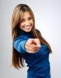 Nätt peka för kvinna Fotografering för Bildbyråer