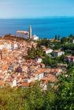 Nätt Pirano Piran stad i Slovenien royaltyfria bilder