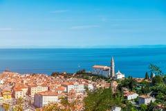 Nätt Pirano Piran stad i Slovenien Arkivfoto