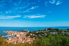 Nätt Pirano Piran stad i Slovenien Royaltyfri Fotografi