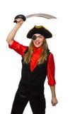 Nätt piratkopiera det hållande svärdet för flickan Arkivbild