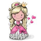 Nätt prinsessa för tecknad film stock illustrationer