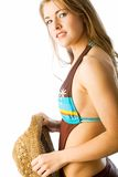 nätt profilbaddräkt Fotografering för Bildbyråer