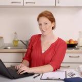 Nätt rödhårig kvinna som arbetar i hennes inrikesdepartementet Royaltyfri Foto