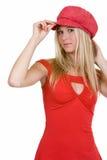 nätt rött kvinnabarn arkivbilder