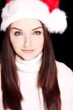 nätt santa för hatt slitage kvinna Royaltyfri Fotografi
