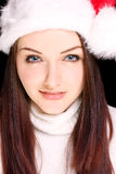 nätt santa för hatt slitage kvinna Arkivfoton