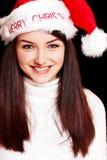 nätt santa för hatt slitage kvinna Royaltyfria Foton