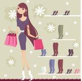 nätt shopping för flicka stock illustrationer