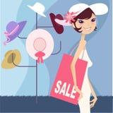 nätt shopping för flicka Arkivbild