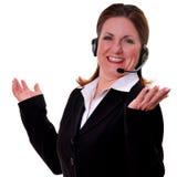 nätt slitage kvinna för hörlurar med mikrofon Royaltyfri Bild