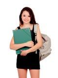 Nätt studentflicka med den svarta klänningen arkivbild