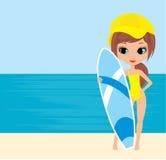 nätt surfingbräda för flicka Arkivfoto