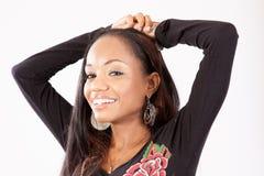 Nätt svart kvinna i blus Royaltyfria Foton
