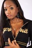 Nätt svart kvinna i blus Fotografering för Bildbyråer