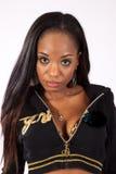Nätt svart kvinna i blus Arkivfoton