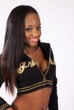 Nätt svart kvinna i blus Royaltyfri Foto