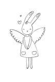 Nätt tecknad filmkaninflicka i en klänning Kanin med vingar Royaltyfri Foto