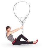 Nätt teckning för kvinnainnehavballong Fotografering för Bildbyråer
