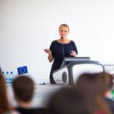 Nätt ung affärskvinna som ger en presentation arkivfoton