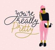 Nätt ung kvinna i solglasögon med handskriven bokstäver` dig beträffande egentligen nätt ` för `, rosa prickbakgrund också vektor vektor illustrationer