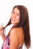 Nätt ung kvinna med långt hår Royaltyfria Foton