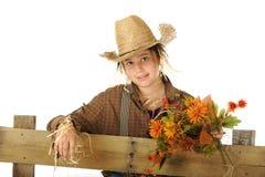 Nätt ung Scarecrow Arkivbild