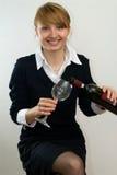 nätt wine för flicka royaltyfria bilder
