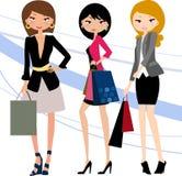 Nätta flickor med påsar e royaltyfri illustrationer