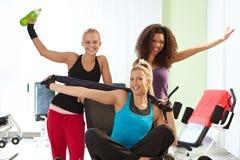 Nätta flickor som poserar på idrottshallen Royaltyfria Bilder