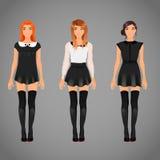Nätta kvinnlig i svartvita krageklänningar Arkivbilder