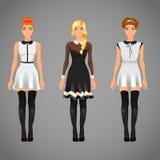Nätta kvinnlig i svartvita krageklänningar Royaltyfri Bild