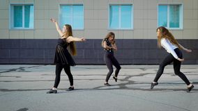 Nätta kvinnor som dansar jazz stock video