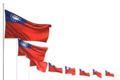 Nätta Myanmar isolerade flaggor förlade diagonalt, fotoet med bokeh och stället för din text - någon illustration för ferieflagga royaltyfri illustrationer