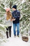 Nätta par med kottar i korg i vinter Royaltyfri Fotografi