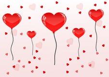 Nätta röda ballons och hjärta för valentindag Fotografering för Bildbyråer