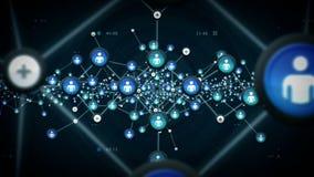 Nätverk av folkblått royaltyfri illustrationer