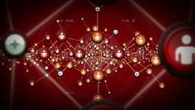 Nätverk av rött folk stock illustrationer