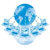 nätverk för dator för 4 blue globalt Royaltyfria Bilder