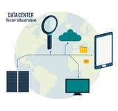 Nätverk för datorhallanslutningsmaskinvara stock illustrationer