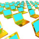 nätverk för guldgruppbärbar dator Fotografering för Bildbyråer
