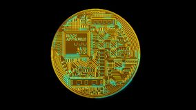 Nätverk för kryptering för crypto valuta för Bitcoin blockchain digitalt för världspengar stock video