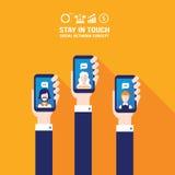 Nätverk för smart telefon för handinnehav socialt och kommunikationsbegrepp royaltyfri illustrationer
